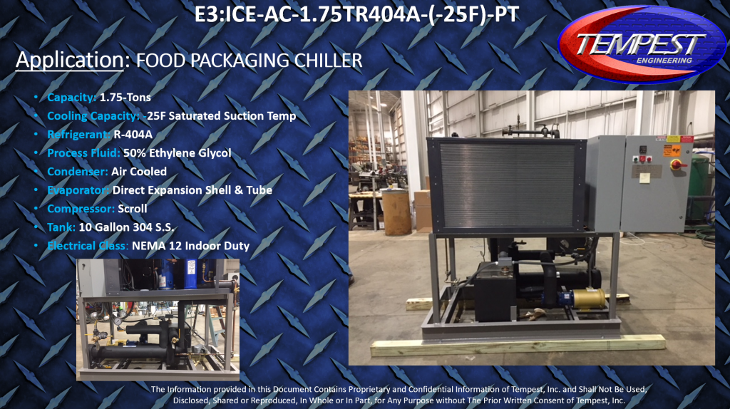 1.75-Ton Air-Cooled Food Packaging Chiller - Tempest Engineering