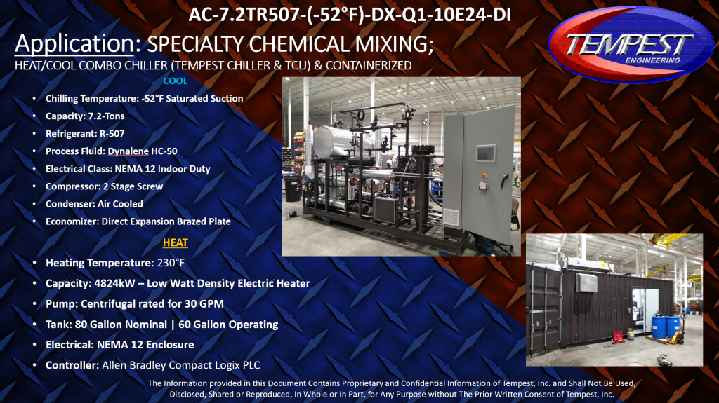 Chiller & TCU Combo Containerized Chiller Specialty Chemical - Tempest Engineering