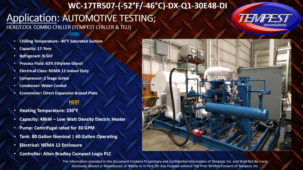 Automotive Testing -50F to 230F Heat Cool Combo Chiller - Tempest Engineering