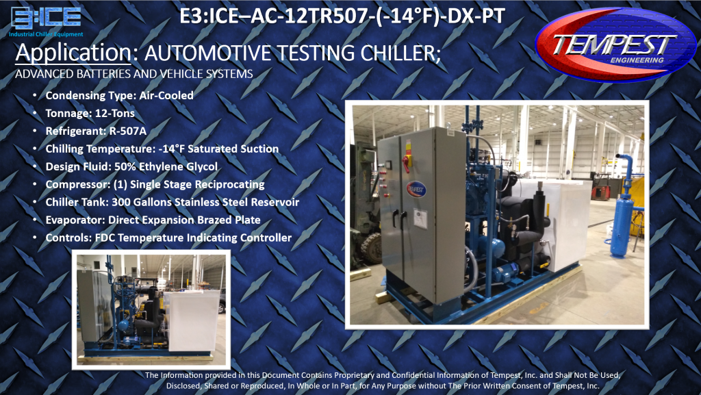 12-Ton Air Cooled -14F Automotive Testing Chiller with Pump & Tank - Tempest