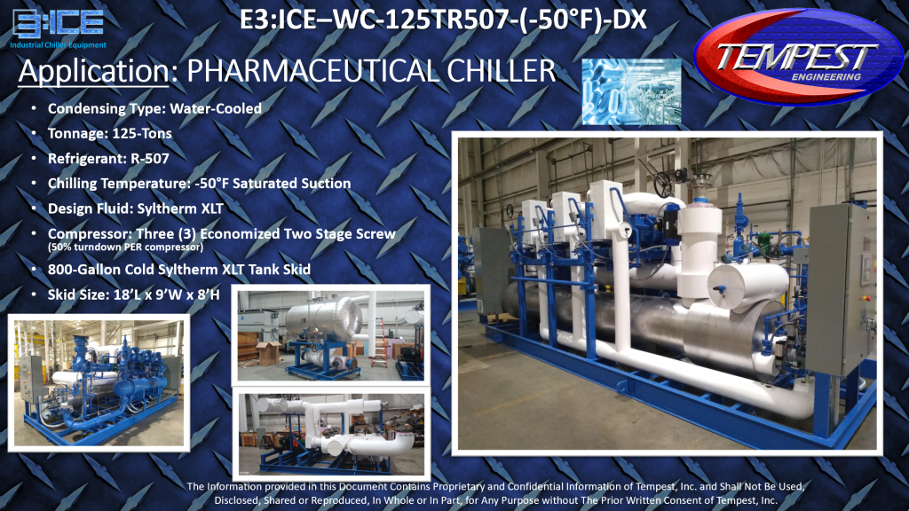 125-Ton Water Cooled Pharmaceutical Chiller -50F Cooling - Tempest