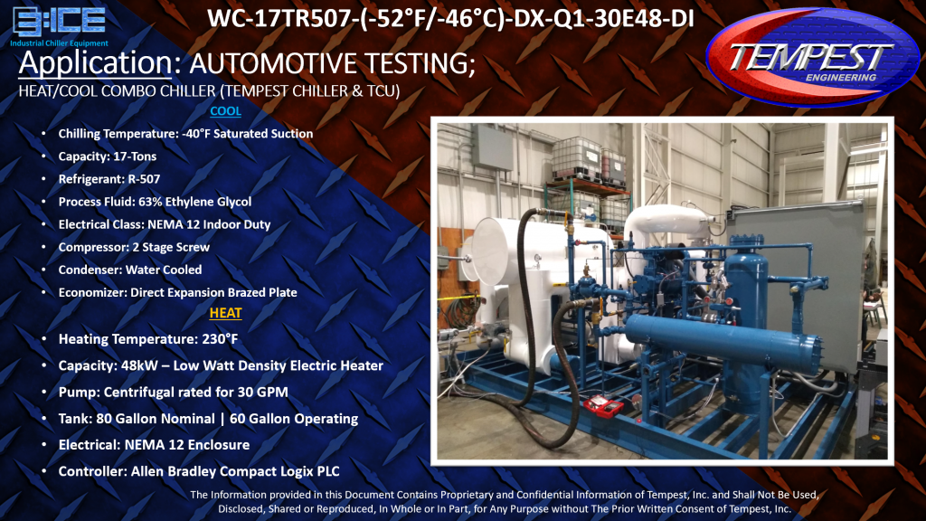 17-Ton Water Cooled -52F Combo Chiller and TCU - Tempest