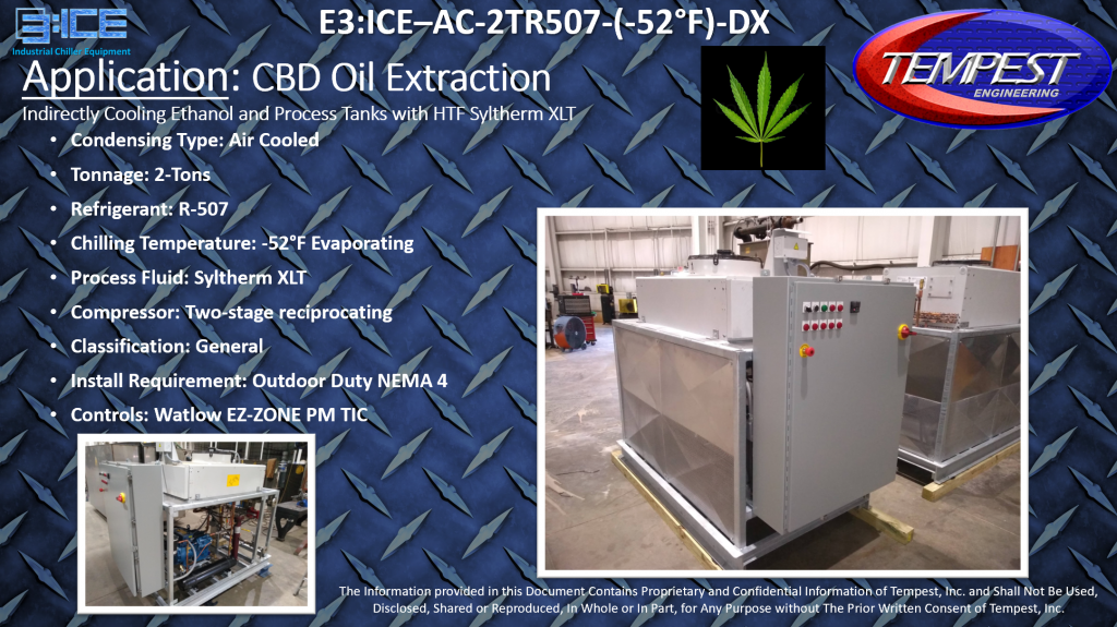 2-Ton Air Cooled -52F Evaporating Temperature Syltherm XLT CBD Extraction Chiller - Tempest