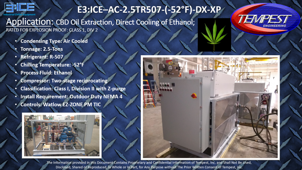 2.5-Ton Air Cooled -52F Evap Explosion Proof CBD Extraction Chiller - Tempest