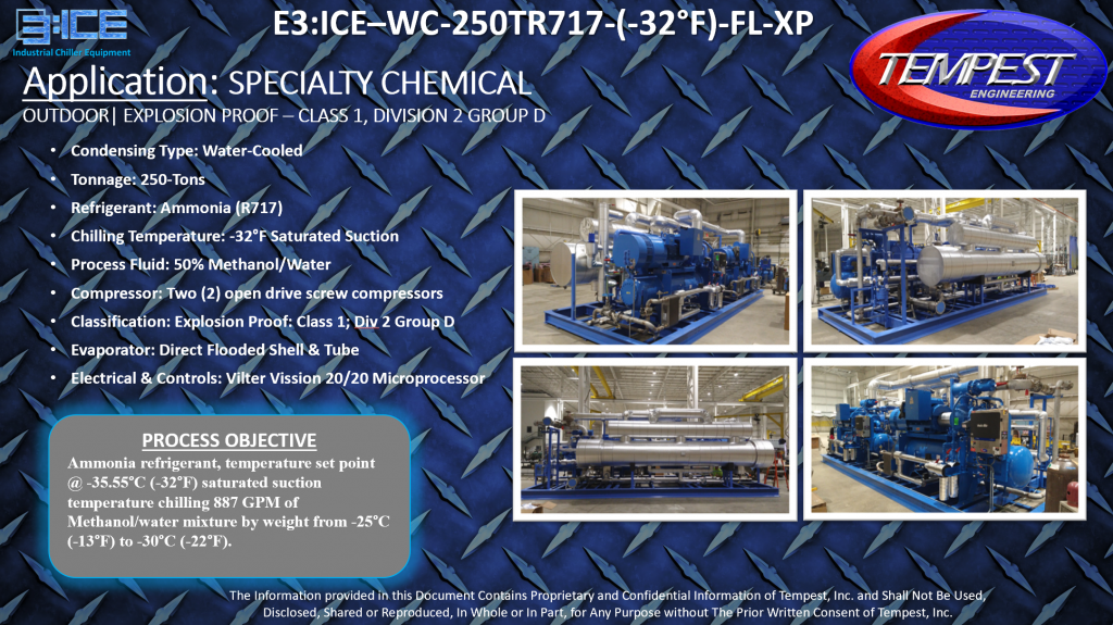 250-Ton Water Cooled Ammonia Explosion Proof Chemical Processing Chiller - Tempest