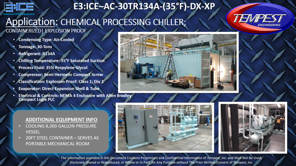 30-Ton Air Cooled Explosion Proof Containerized Chemical Processing Chiller - Tempest