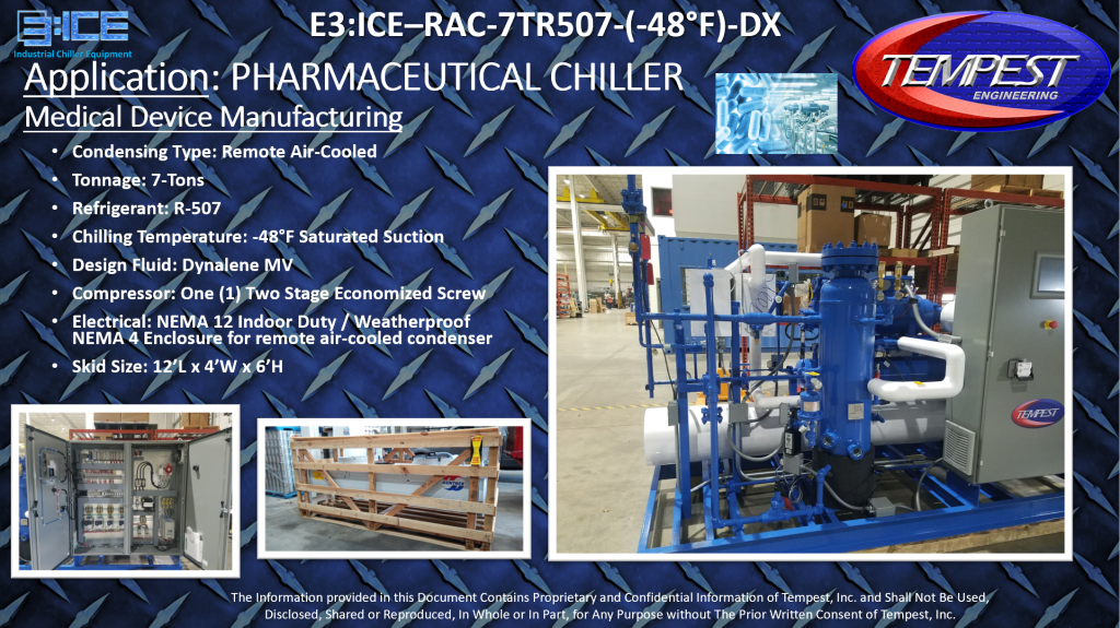 7-Ton Air-Cooled Pharmaceutical Chiller for -48F Cooling - Tempest