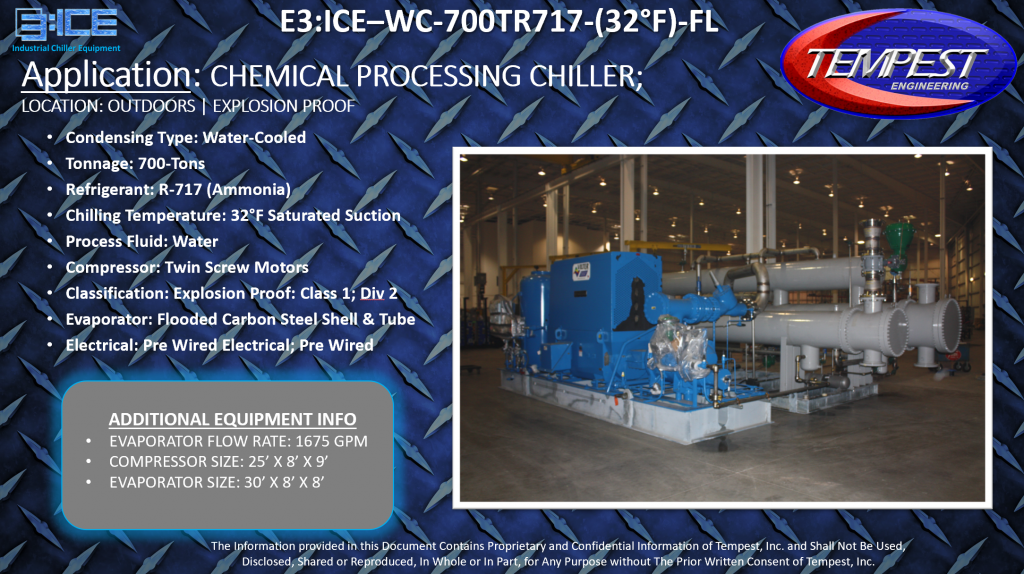 700-Ton Water Cooled Flooded Ammonia Chemical Processing Chiller - Tempest