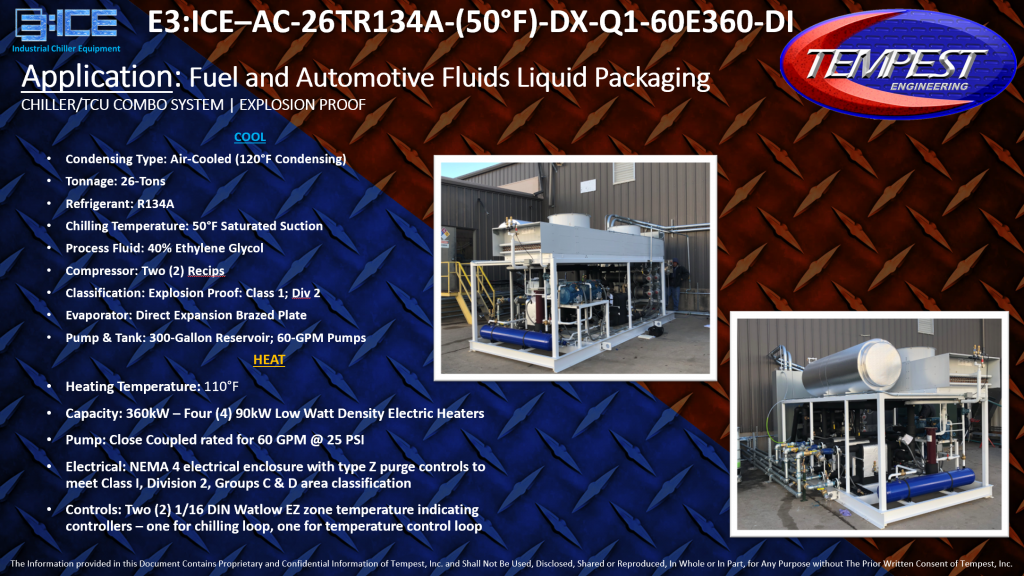 26-Ton Air-Cooled Chiller and 360kW TCU Combo System - Tempest Engineering