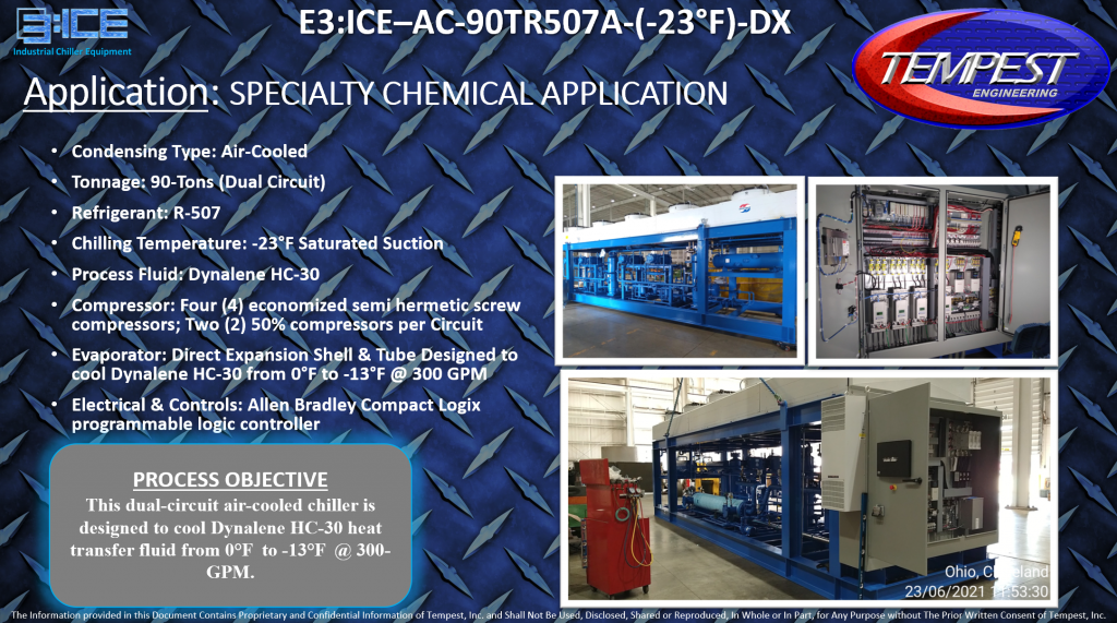 90-Ton Air-Cooled Dual Circuit Chemical Processing Chiller - Tempest Engineering