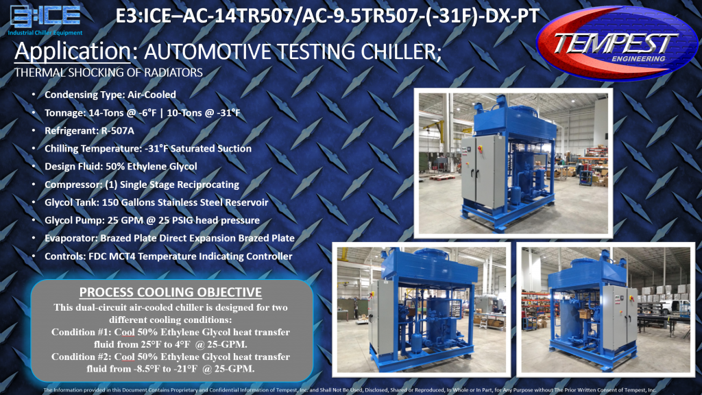 14-Ton Air Cooled -31F Low Temperature Automotive Testing Tempest Chiller