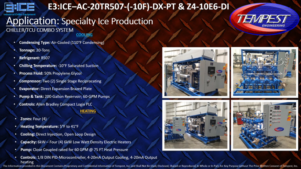 20-Ton Air-Cooled Low Temperature Chiller & Four Zone TCU for Specialty Ice Making - Tempest Engineering